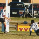 2002 state cships brisbane - brisbane v gold coast - cian jacobs puts ross murray under the sticks - pbr02-010