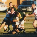 2002 state cships brisbane - brisbane v gold coast - des hearn strives to break clear - pgc02-008