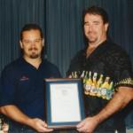 2002 state cships brisbane - presentation night - 10yrs for doug king - pass02-011